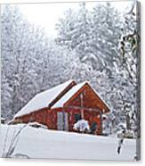 Small Cabin In The Snow Canvas Print