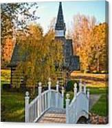 Small Chapel Across The Bridge In Fall Canvas Print