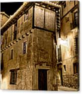 Small House In Albarracin At Night Canvas Print