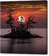 Small Island At Sunset Canvas Print