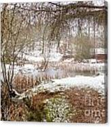 Small Lake In The Snow Canvas Print