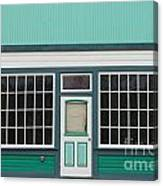 Small Store Front Entrance To Green Wooden House Canvas Print