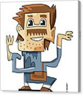 Smart Guy Doodle Character Canvas Print