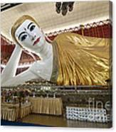 Smiling Reclining Buddha In Yangon Myanmar Canvas Print