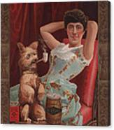 Smoking Dog In Advertisement For Globe Canvas Print
