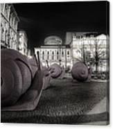 Snails Attack Milan Bw Canvas Print