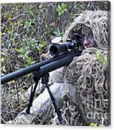 Sniper Dressed In A Ghillie Suit Canvas Print
