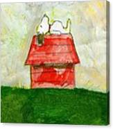 Snoopy Asleep On Red Doghouse Canvas Print