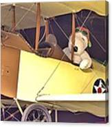 Snoopy In His Biplane Canvas Print