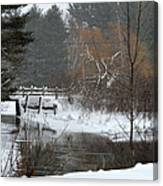 Snow And Stream Canvas Print