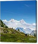 Snow-capped Mountain And Cloud Canvas Print