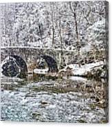 Snow Coming Down On The Wissahickon Creek Canvas Print