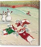Snow Corgi Canvas Print
