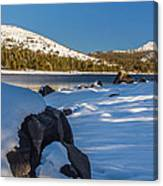 Snow Covered Boulder Canvas Print