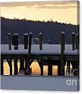 Snow Covered Docks Canvas Print