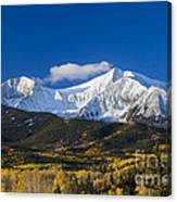 Snow Covered Mount Sopris With Golden Aspen Trees Canvas Print