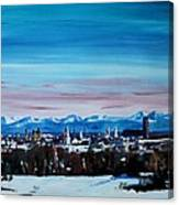 Snow Covered Munich Winter Panorama With Alps Canvas Print