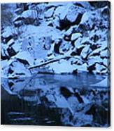 Snow Covered River Rocks Canvas Print