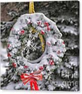 Snow Covered Wreath Canvas Print