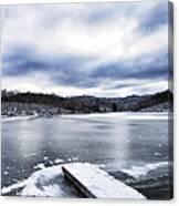 Snow Dock Frozen Lake Canvas Print