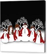 Snow Family 2 Square Canvas Print