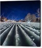 Snow Groomed Trail At A Ski Resort At Night Canvas Print