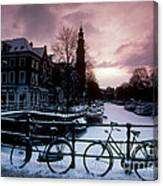 Snow On Canals. Amsterdam, Holland Canvas Print