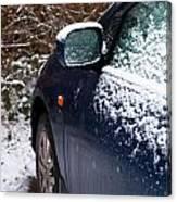 Snow On Car Canvas Print