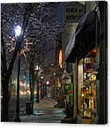Snow On G Street 3 - Old Town Grants Pass Canvas Print