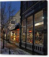Snow On G Street - Old Town Grants Pass Canvas Print
