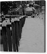 Snow On The Docks Canvas Print