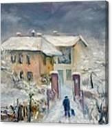 Snow On The Farmhouse Canvas Print