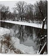 Snow On The River Canvas Print