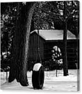 Snow On Tire Swing Canvas Print