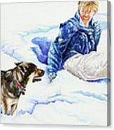 Snow Play Sadie And Andrew Canvas Print