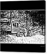Snow Plow In Black And White Canvas Print