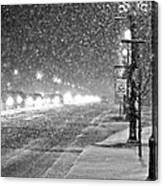Snow Rush In Black And White Canvas Print