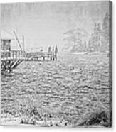 Snow Storm In Bass Harbor On Mount Desert Island Maine Canvas Print