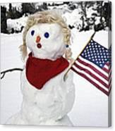 Snow Woman With Flag Canvas Print
