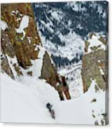Snowboarder Doing A Slash Canvas Print