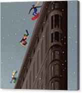 Snowboarders Fly Off The Flatiron Halfpipe Canvas Print
