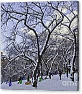 Snowboarders In Central Park Canvas Print
