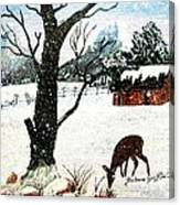 Snowfall And Visiting Doe Canvas Print