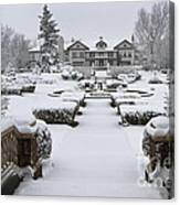 Snowfall At Longview Mansion Canvas Print