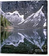 Snowfield Reflection On Blue Lake  Canvas Print