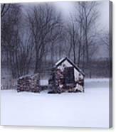 Snowing At Narcissa Road Springhouse Canvas Print