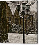 Snowing At Stokesay Castle Canvas Print