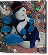 Snowman And His Speeding Plane Canvas Print