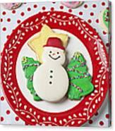 Snowman Cookie Plate Canvas Print
