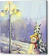 Snowman Enyoying The Light Canvas Print